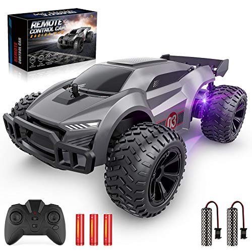 EpochAir Remote Control Car - 2.4GHz High Speed Rc Cars, Offroad Hobby Rc Racing Car with 2 Rechargeable Batteries and Led Lights, Electric Toy Car Gift for 3 4 5 6 7 8 Year Old Boys Girls Kids