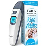 Baby Forehead and Ear Temperature Thermometer - Iproven Digital Non Contact Infant and Toddler (Termometro) - with Object Mode -Easy for Your Newborn with Pacifier - Quick No Touch - 2019 (Grey.)