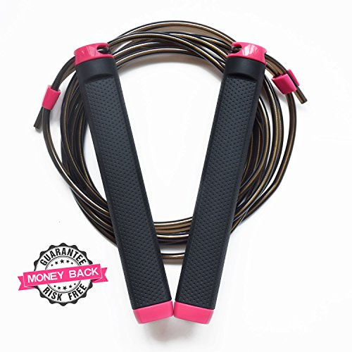 KYTO Jump Rope-Adjustable 10ft Cable, Best for Skipping, Boxing, Speed, MMA Training, Jumping Workout, Crossfit Training, Comes with a Carrying Bag