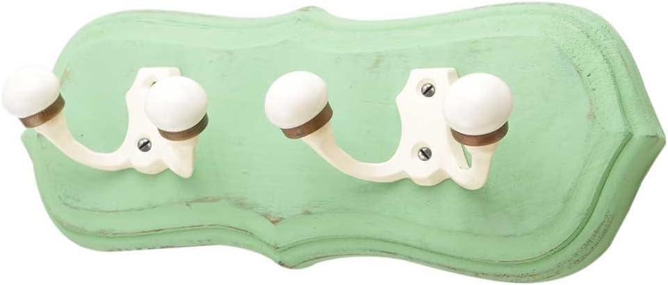 IndianShelf 1 Piece Handmade Green Boston Mall Wooden Loop Ranking TOP9 Wall Hooks Double