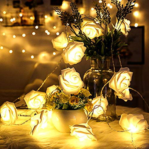REDGO Rose Fairy String Lights, Battery Powered Operated 30 LED String Lights for Home Indoor Outdoor Bedroom Garden Fence Seasonal Party Christmas Thanksgiving Valentine's Day Wedding, Warm White
