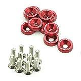 Targa di immatricolazione in alluminio anodizzato stile rondella a vite bullone F6 M6(rosso)