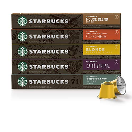 Starbucks by Nespresso, Favorites Variety Pack (50-count single serve capsules, 10 of each flavor, compatible with Nespresso Original Line System), 10 Count (Pack of 5)
