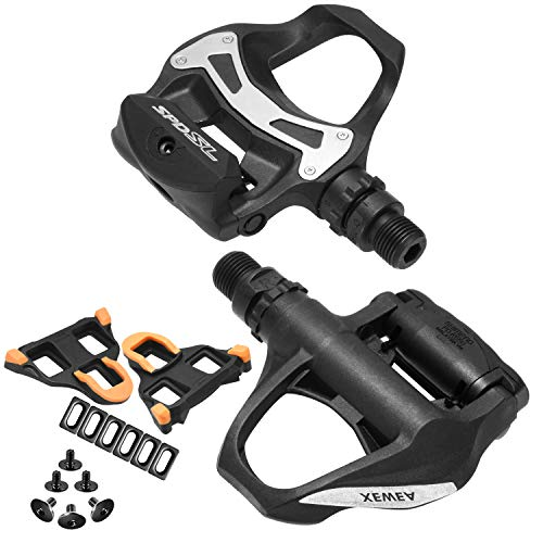 XEWEA Road Pedals Cleats Set for Shimnao SPD SL Clipless Pedals, Lightweight Self-Locking Cycling Pedals for Shimnao 105 SM-SH System Shoes Fitness Peloton Spin Bike (R540)