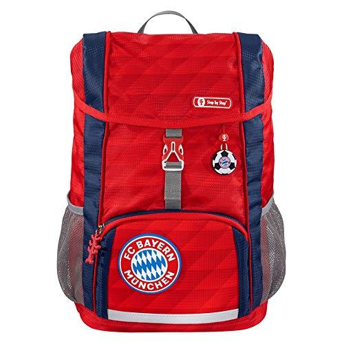 """Step by Step Kid Rucksack-Set FC Bayern """"Mia san Mia"""", 3-teilig, rot, mit Reflektoren, ergonomisch, individualisierbar, für Kindergarten und Freizeit, für Jungen und Mädchen, 13 Liter"""