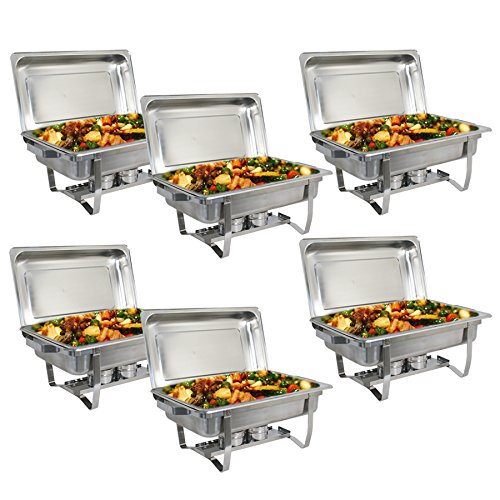 SUPER DEAL 8 Qt Stainless Steel 6 Pack Full Size Chafer Dish w/Water Pan