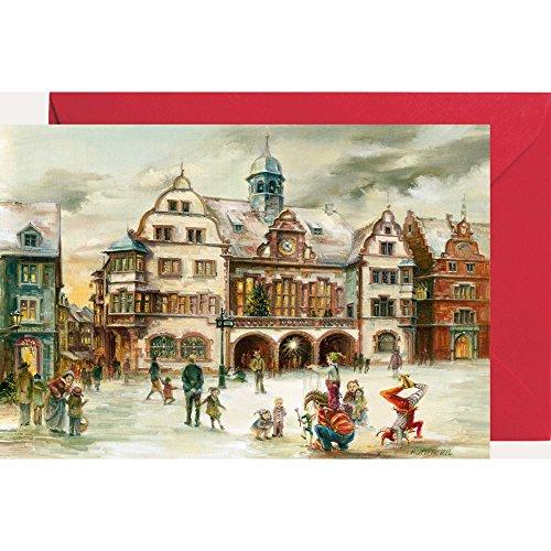 Ansichtskarte mit Adventskalender ''Freiburg Rathaus''