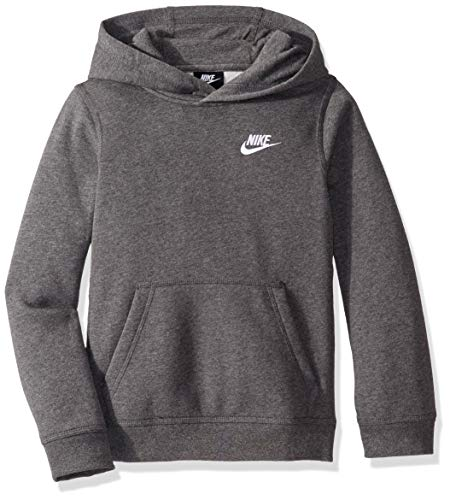 Nike Boy's NSW Pull Over Hoodie Club, Charcoal Heather/White, Large