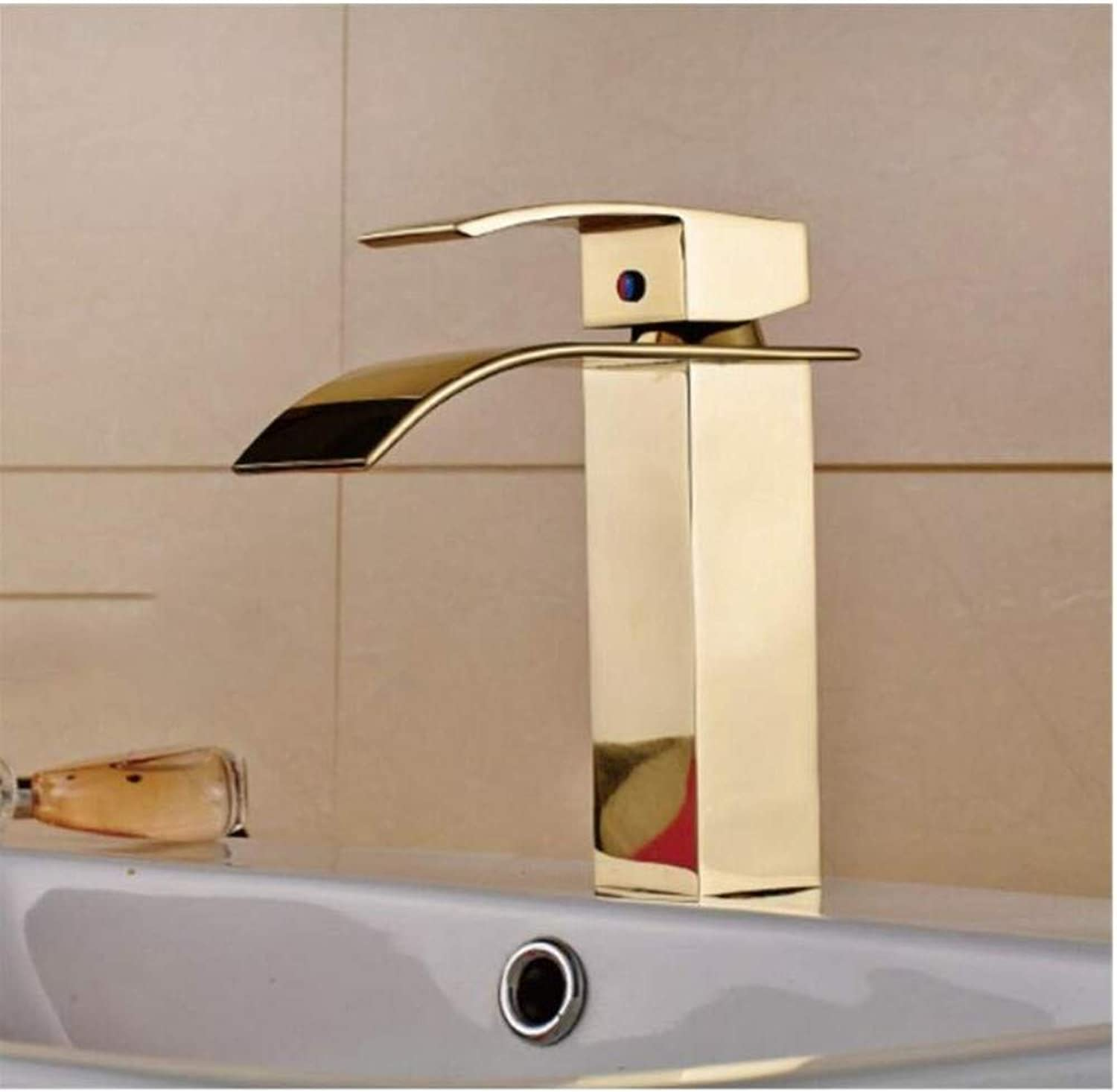 Modern Double Basin Sink Hot and Cold Water Faucet Waterfall Faucet Square Basin Sink Mixer Tap