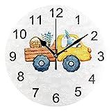 Gokruati Reloj de Pared silencioso,Reloj de Cocina,Relojes de Cuarzo silencioso Que no Hace tictac,para Sala de Estar,dormitorios,(Diámetro: 25 cm),Bunny Car Wall Huevos de Pascua