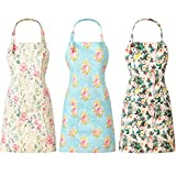 Vicenpal 3 Pieces Women Floral Apron Adjustable Flower Kitchen Aprons Linen Cooking Apron Cute Floral Chef Aprons with 2 Pockets for Wife Mom Grandma Cooking Baking Gardening, 3 Designs