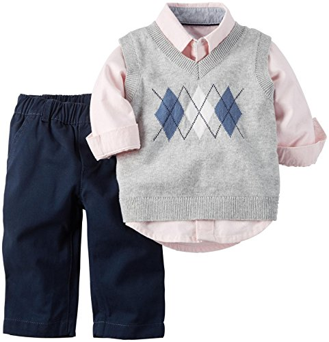 Carter's Baby Boys' 3 Pece Easter Vest Set 120g072, Navy/Pink, New Born