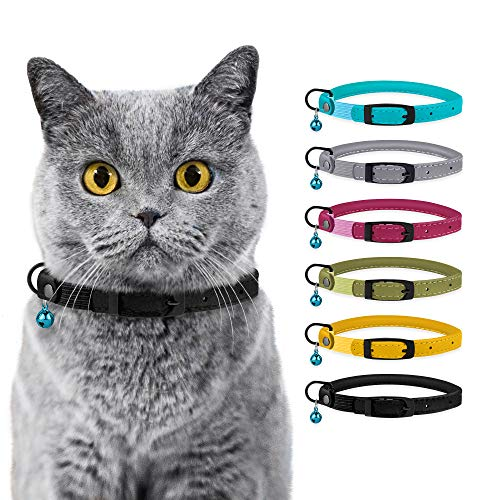 """BRONZEDOG Cat Collar with Bell Safety Rolled Leather Collars for Cats Kitten Black Blue Pink Green Yellow Grey (8"""" - 10"""", Black Midnight)"""