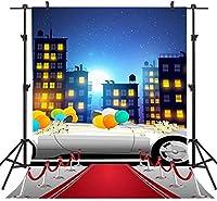 APANレッドカーペットの背景3x5ft結婚式の車の風船の写真の背景ビニール写真ビデオスタジオの小道具