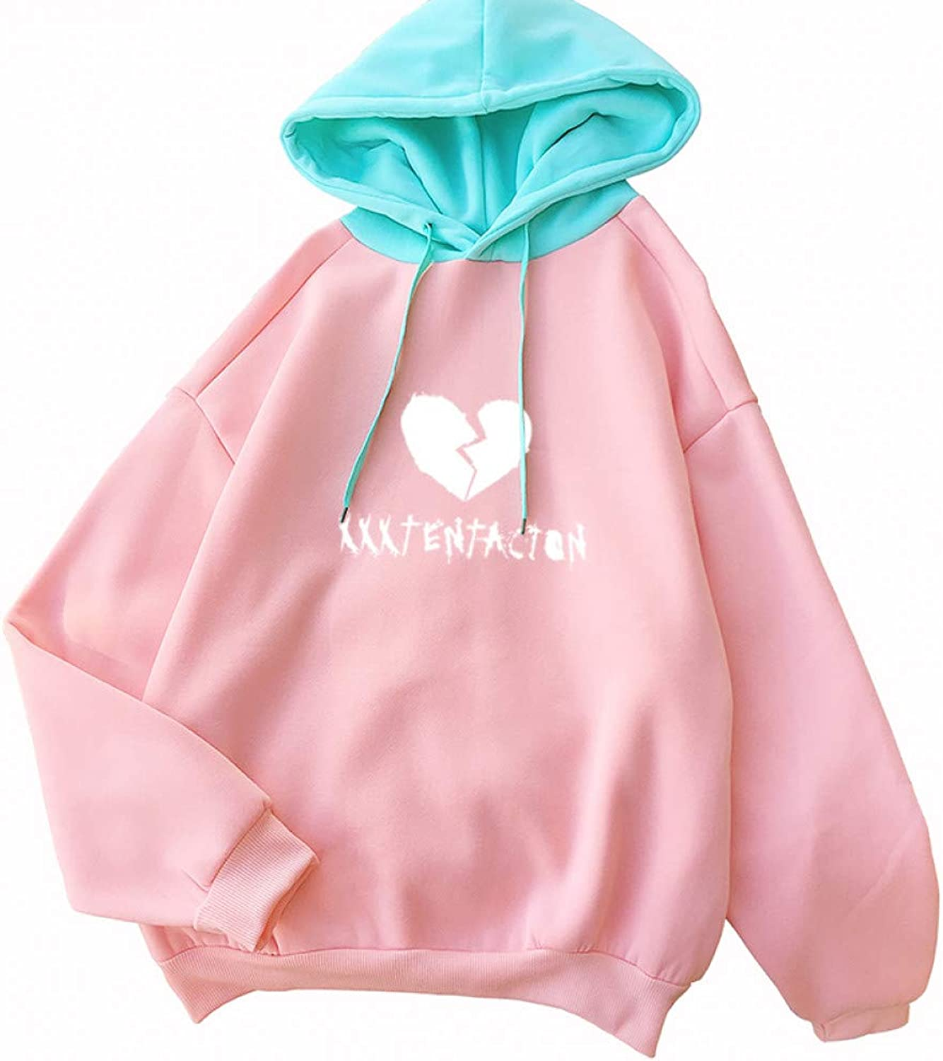 ZJSWCP Sweatshirt Hoodie Sweatshirt Women Pink Green Splicing Hooded Atutumn Korean Harajuku Casual Fleece Kawaii Letter Heart Print Sweater