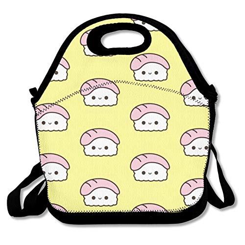 Kawaii Sushi en la cama bolsa Bento bolsa aislada lonchera para hombres mujeres niños bolsa caliente bolsa reutilizable duradera a prueba de fugas