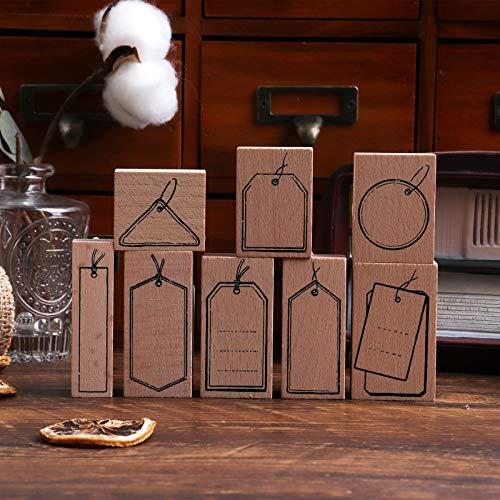 Sello de madera Lychii para manualidades, 8 sellos de goma de madera, muestras de letras y etiquetas Sellos postales ensamblados para entusiastas del bricolaje, revistas, planificadores diario