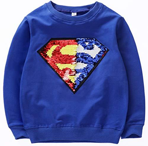 i pass Jungen Mädchen Superhelden-Sweatshirt, mit Pailletten, langärmelig, Baumwolle, 3–8 Jahre alt Gr. 6-7 Jahre, g