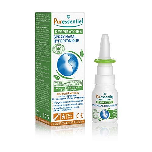 Puressentiel - Respiratoire - Spray Nasal Hypertonique - Bio - Décongestionnant pour rhume, rhinite, sinusite, rhinopharyngite - 15 ml