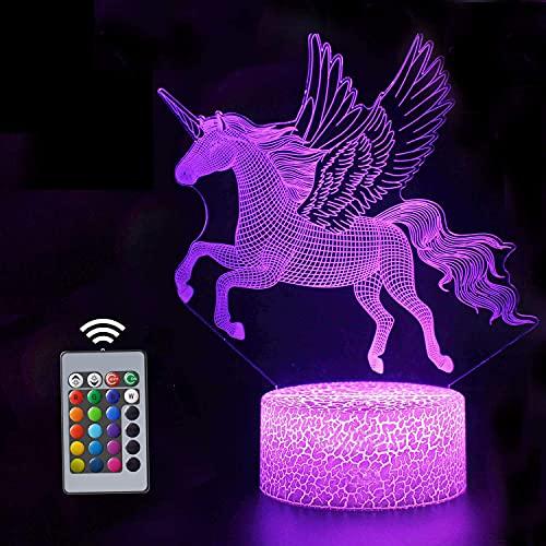 XINGHE Unicornio 3D Luz Nocturna para Niños, LED Luces nocturnas Ilusión, 3D Lámpara de Luz 16 Colores Cambian con Control Remoto, Regalos para Niños Niñas y Adultos