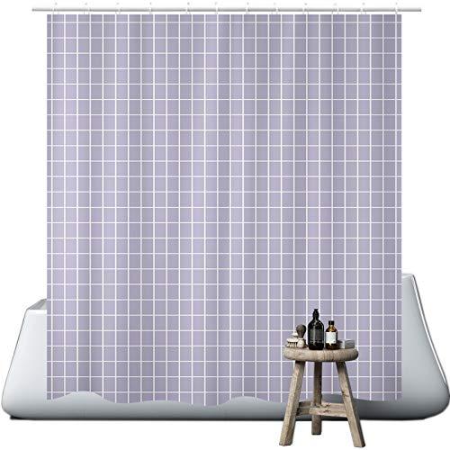 wiipara Duschvorhang, Wasserfeste Bad Vorhang aus Polyestergewebe Grau Kariert Waschbar Badewanne Vorhang Duschvorhang Textil mit 12 Duschvorhangringe fürs Badezimmer (180 x 180 cm)
