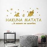 ufengke Pegatinas de Pared Letras and Frases Hakuna Matata Vinilos Adhesivas Pared Citas Motivacionales Doradas para Dormitorio Guardería Habitación Infantiles Niños