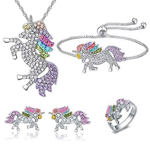 Uddiee Einhorn-Schmuck-Set Rainbow Crystal Unicorn Silber Halskette Armband Ringe Ohrstecker Schmuck Geschenkbox