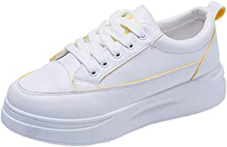 Yong Ding Women Platform Trainers Heightening Lightweight Leather Skateboard Shoes Fit for Student Work and Daily Wear