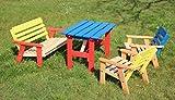 Enfants Salon de jardin 4pièces en bois, 2chaises, 1banc, 1table, couleurs vorbehandelt