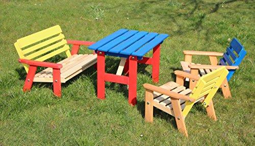 GartenDepot24 Kinder Sitzgarnitur 4-TLG. aus Holz, 2 Stühle, 1 Bank, 1 Tisch, farblich vorbehandelt