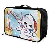 Bolsa de viaje plegable con forma de cubo de moda, ligera, de gran capacidad, bolsa de equipaje portátil (The Cat Wishes You Happy Christmas Card Watercolor), 38,1 x 15,2 x 27,9 cm