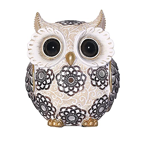 FAMICOZY Adorable Owl Figurine,Big Eyes Cute Owl Statue,Shelf Accents for Home Decor and Owl Lovers