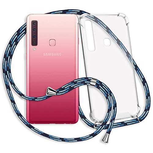 mtb more energy Collana Smartphone per Samsung Galaxy A9 2018 (SM-A920, 6.3'') - Strisce Blu - Custodia Protettiva indossabile per Collo - Anti Shock TPU Case Cover Cordoncino Tracolla