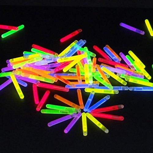 50 Mini Knicklichter Leuchtstäbe | Bissanzeiger Glowstick | Partylichter Neon | rot gelb grün pink orange blau