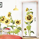 LLYDD Wall Sticker Sunflowers Floral Blossom Living Room Bedroom Wallpaper Self-Adhesive TV Background Wall Decorations Corridor Entrance Wall Stickers Waterproof Tile Sticker Home Decoration DIY…