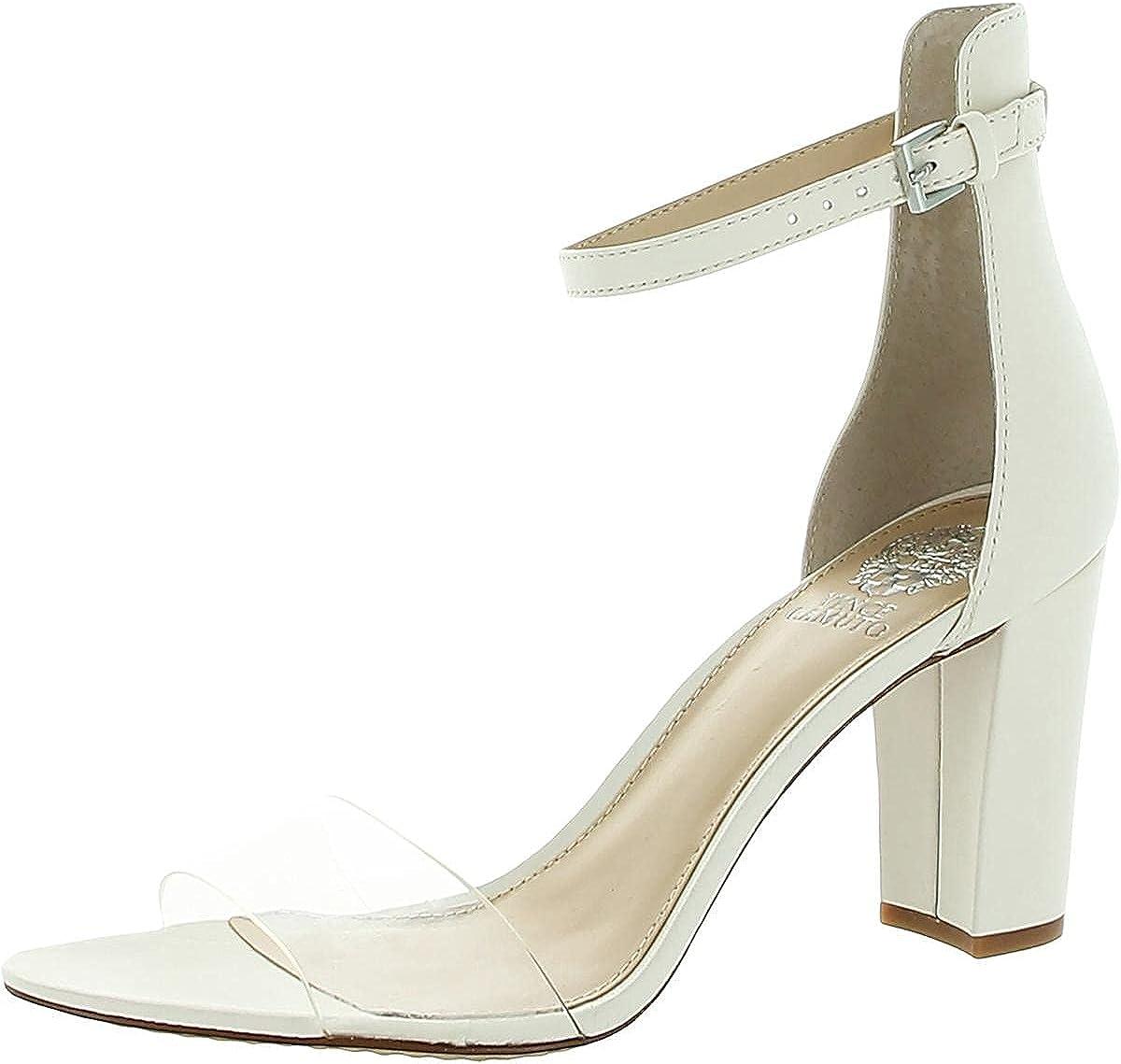 Vince Camuto Womens Corlina Leather Heel Sandals Ivory 5.5 Medium (B,M)
