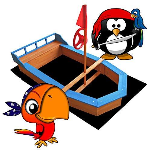 Wiltec Sandkasten Boot mit Flaggenmast 150x78x100cm Vliesboden Holzsandkasten Garten