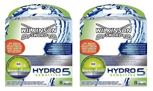 Wilkinson Sword Hydro 5 Sensitive - Recambio de Cuchillas de Afeitar de 5 Hojas para Hombres con Piel Sensible, Banda Lubricante Extra Hidratante, Pack 16 Unidades, color Verde