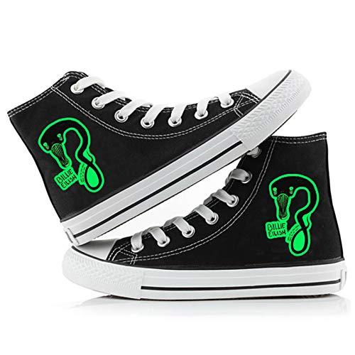 SXDE Zapato Lona Zapatillas Deportivas Unisex Billie Eilish Zapatillas Altas Unisex Adulto (Black A,43)