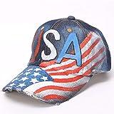 YZUEYT 新しいファッションユニセックス印刷アメリカ野球帽女性湾曲したアメリカ国旗プリントつばヒップホップキャップ男性ゴラスナップバック帽子 YZUEYT (Color : Dark Blue, Size : One size)