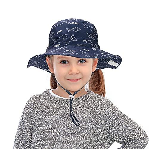 LINGSFIRE Sombrero de Sol Verano para Bebé, Ajustable Pescador Gorra Protección de Sol para Niño Pequeño Super Suave Sombreros de Unisexo Infantil Floral Animal Gorro de Ancha Verano (Azul)