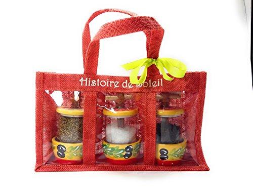 Histoire Soleil Souvenirs de Provence zak van jute, rood, met 3 navulbare molens met groot zout, Provence kruiden en zwarte peper