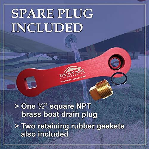 Elite Engineering USA Beach'N Boat Drain Plug Wrench for ½ inch NPT Plug - Red