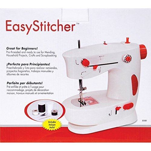 (USA Warehouse) Easy Stitcher Table Top Sewing Machine / Horizontal drop-in bobbin pre-threaded and ready to use. Includes step by step instructions, great for beginners.