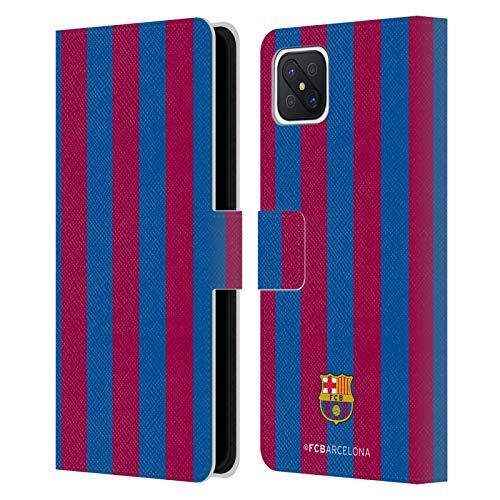 Head Case Designs Licenciado Oficialmente FC Barcelona Rayas 2017/18 Crest Carcasa de Cuero Tipo Libro Compatible con OPPO Reno4 Z 5G
