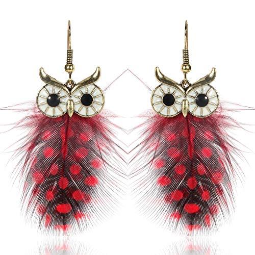 Autiga® Ohr-Ringe Ohr-Stecker Damen Eule Owl Feder Feather Ohr-Hänger Vintage rot