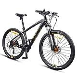 DJYD 27,5-Zoll-Mountainbikes, Carbonrahmen Doppel-Suspension Mountain Bike, Scheibenbremsen All Terrain Unisex-Gebirgsfahrrad, Gold, 27 Geschwindigkeit FDWFN