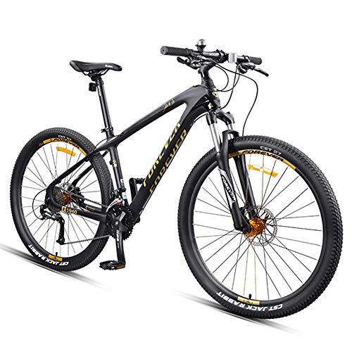 Xiaoyue 27,5-Zoll-Mountainbikes, Carbonrahmen Doppel-Suspension Mountain Bike, Scheibenbremsen All Terrain Unisex-Gebirgsfahrrad, Gold, 30 Drehzahl lalay