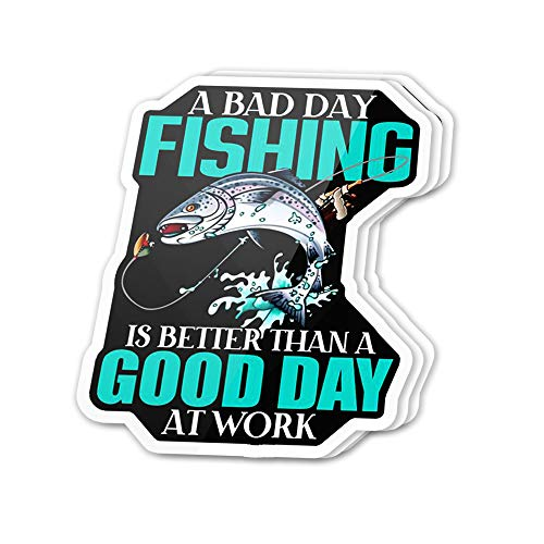 Cool Sticker (3 pcs/Pack,3x4 inch) A Bad Day Fishing is Better Than a Good Day at Work Largemouth Bass Stickers for Water Bottles,Laptop,Phone,Teachers,Hydro Flasks,Car