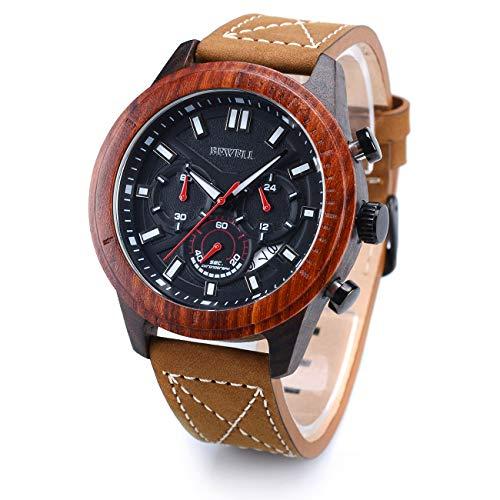 BEWELL W161A Reloj de Pulsera de Madera para Hombres Movimiento de Ccu
